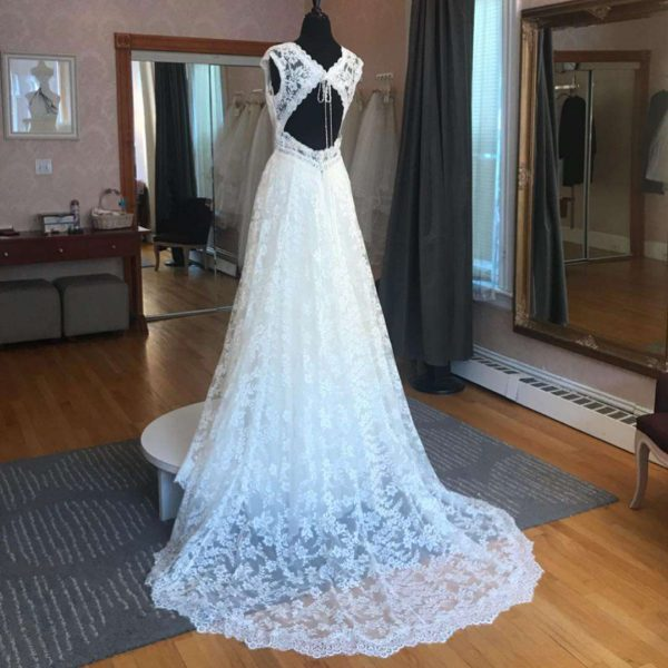 Back of bridal gown lace and tulle