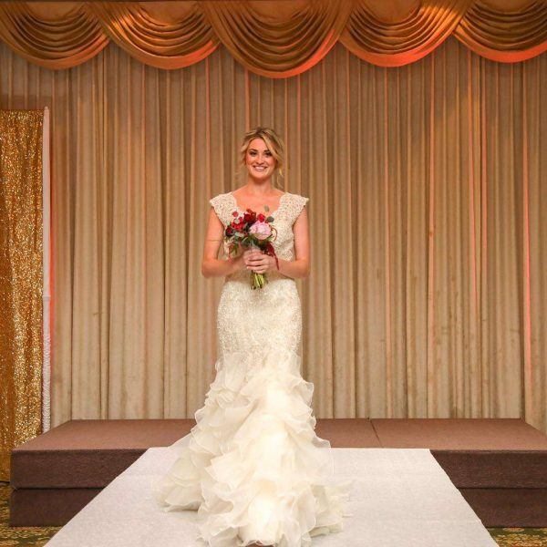 Model wearing wedding gown