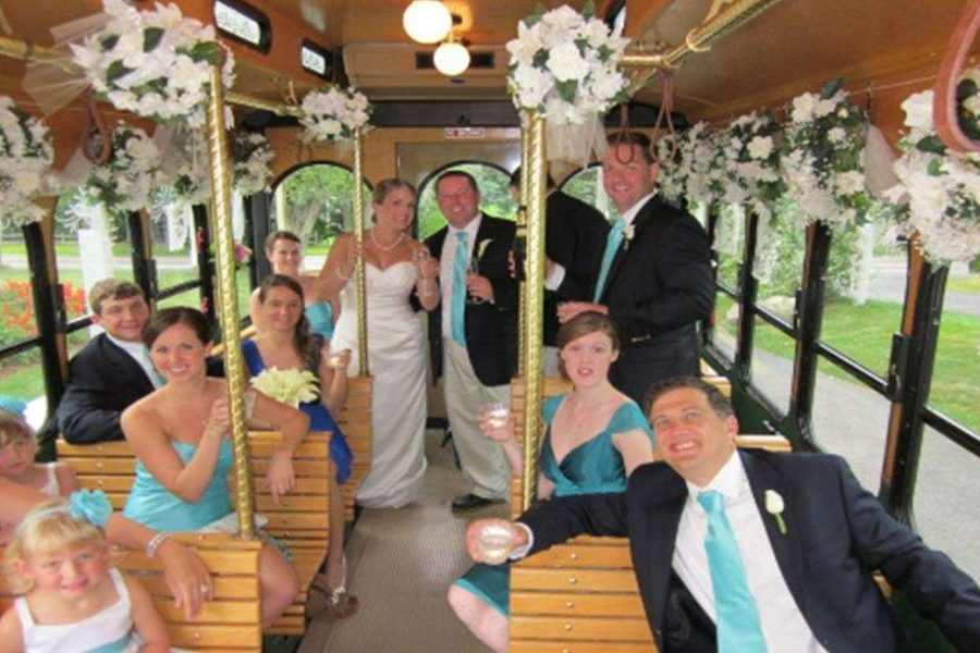 Bridal Party on the trolley