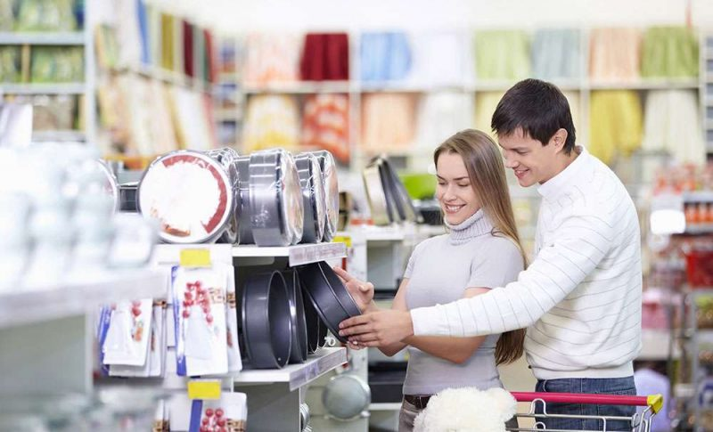 Couple picking items for their registry