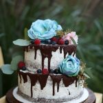 Woodsy cake with dripping chocolate