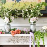 Wedding flowers by marble colonial fireplace
