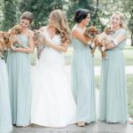 Rescue dogs with bride and bridesmaids
