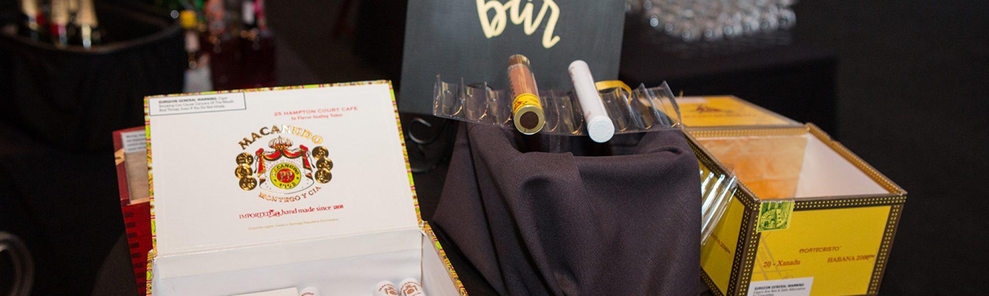 cigar bar at a wedding reception