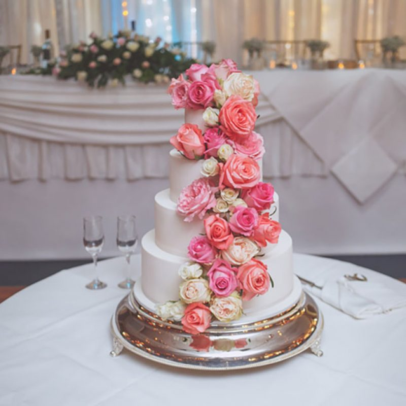 Classic White Wedding Cake with flowers